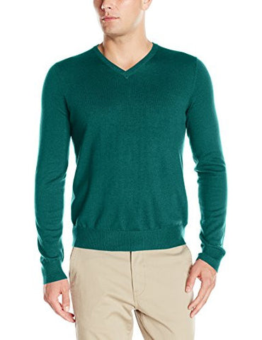 IZOD Men's Fine Gauge Solid V-neck Sweater, Deep Teal Heather, Large