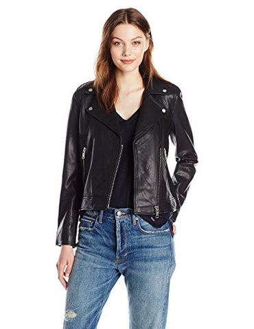 A|X Armani Exchange Women's Sheep Leather Moto Jacket, Black, Small
