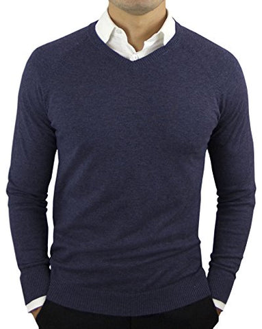 Comfortably Collared Men's Perfect Slim Fit V-Neck Sweater (Large, Navy)