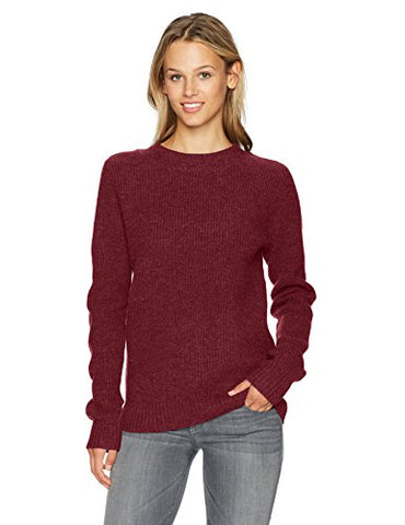 Pendleton Women's Ribbed Lambswool Pullover Sweater, Crimson Heather, S