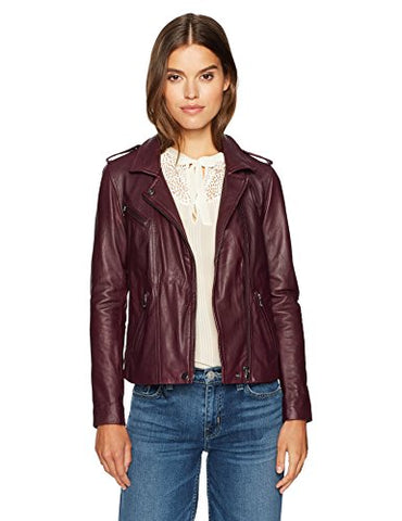 Rebecca Taylor Women's Washed Leather Jacket, Sugar Beet, 2