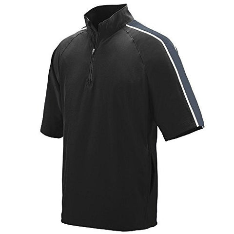 Augusta Sportswear Men's Quantum Short Sleeve Windshirt 2XL Black/Graphite/White