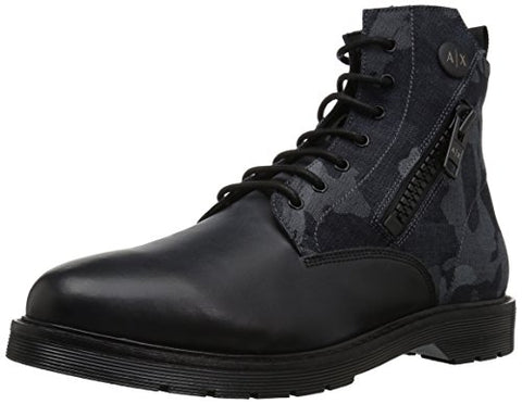A|X Armani Exchange Men's Lace up Side Zip Military and Tactical Boot, Camouflage Blu, 10 M US