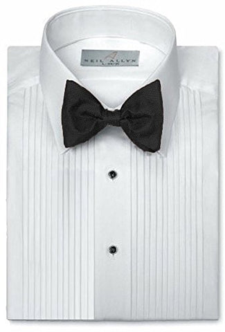"65% Polyester 35% Cotton 1/4"" Pintuck (Pleat) Laydown White Collar Convertible Front and Cuff (16.5 X 34-35)White"