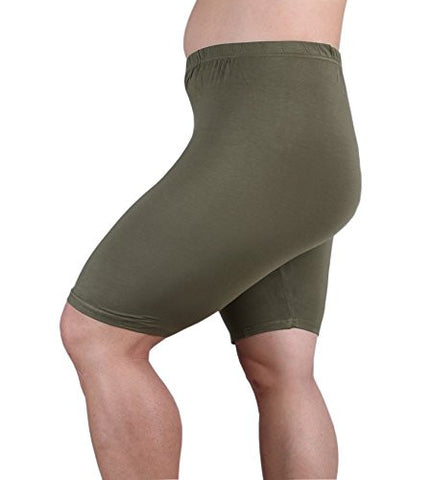 Women's Modal Plus Size Mid Thigh Shorts Army Green 3XL