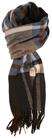 Love Lakeside-Men's Cashmere Feel Winter Plaid Scarf Light Blue Plaid
