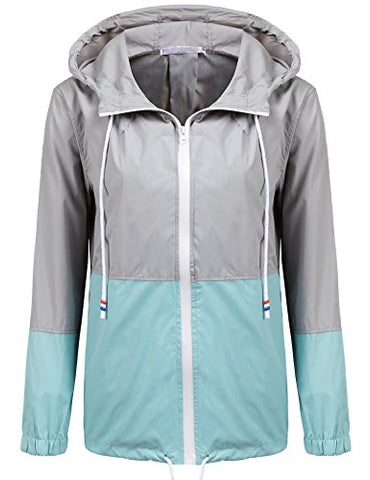 Soteer Women's Waterproof Raincoat Outdoor Hooded Rain Jacket Windbreaker (Lake Blue M)