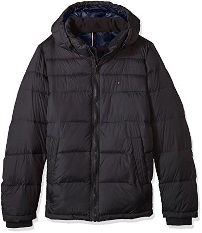 Tommy Hilfiger Men's Big Insulated Midlength Quilted Puffer Jacket with Fixed Hood, Heather Charcoal, Large Tall
