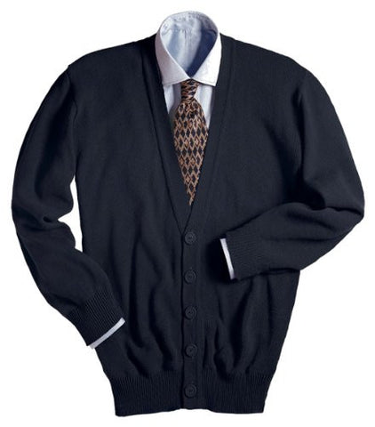 Ed Garments Men's Machine Washable V Neck Cardigan, BLACK, Large