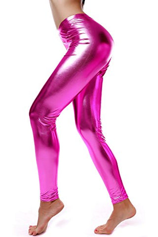 Liquid Wet Look Shiny Metallic Stretch Leggings (S, Pink)