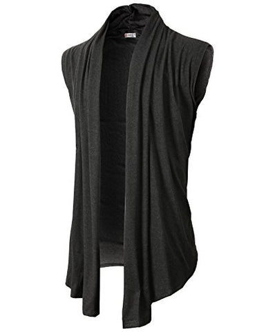 H2H Men's Shawl Collar Sleeveless Cardigan With No Button CHARCOAL US L/Asia XL (KMOCASL01)