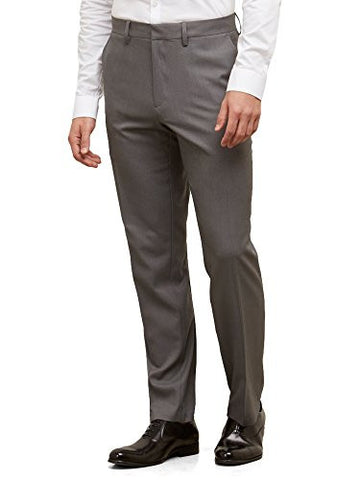 Kenneth Cole Reaction Men's Heather Stretch Modern Fit Flat Front Pant, Dark Grey, 34x30