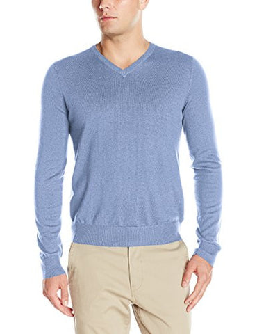 IZOD Men's Fine Gauge Solid V-neck Sweater, Ocean, Small