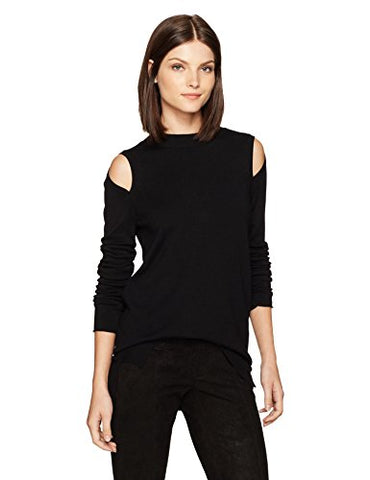 Kensie Women's Soft Blend Cold Shoulder Detail Sweater, Black, XS
