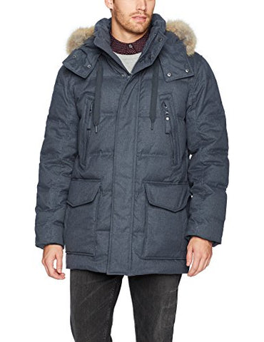 Marc New York by Andrew Marc Men's Dobeln Hooded Herringbone Parka with Removable Coyote Fur, Magnet, Large