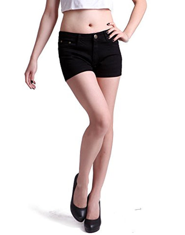 HDE Women's Solid Color Ultra Stretch Fitted Low Rise Moleton Denim Booty Shorts (Black , Large)