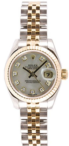 Rolex Ladys 179173 Datejust Steel & 18k Gold, Jubilee Band, Fluted Bezel & Mother of Pearl Diamond Dial