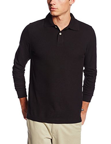 Lee Uniforms Men's Modern Fit Long Sleeve Polo, Black, Large
