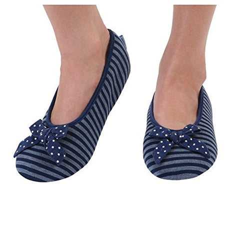 Snoozies Women's Lightweight Striped Ballet with Bow Slipper Socks (Medium, Navy)