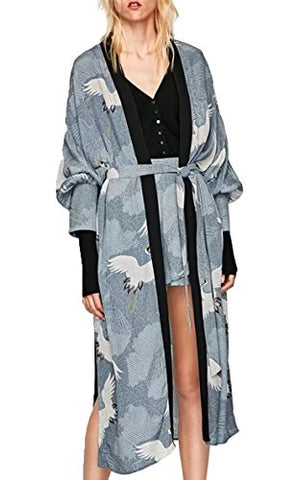 Floral Season Women Floral Long Split Cover Up Robe Fall Kimono Cardigan Coat Grey Medium