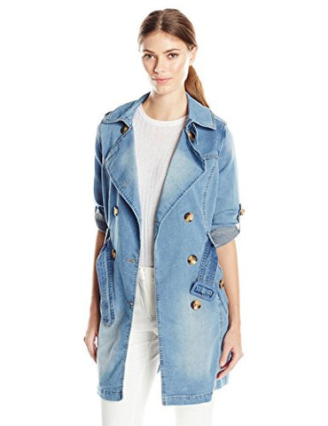 Steve Madden Women's Fashion Outerwear Jacket, Denim Iafkf, Large
