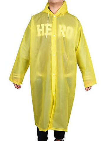 Mudder Portable Raincoat Rain Poncho with Hoods and Sleeves (Yellow)