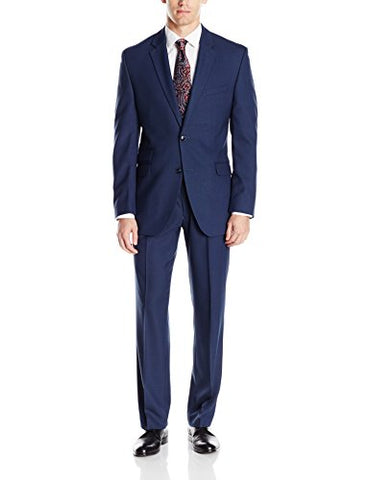 Perry Ellis Men's Slim Fit Suit With Hemmed Pant, Blue, 38 Short