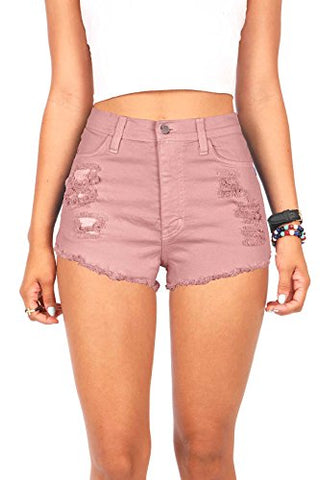 Vibrant Women's Juniors Denim High Waist Cutoff Shorts (S, Rose)