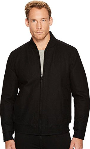 Marc New York by Andrew Marc Men's Barlow Melton Wool Bomber Jacket, Black, Small