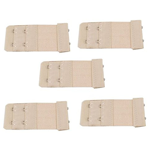 5PCS of Women's Elastic Bra Lingerie Extenders Straps in Different Colors (2 Rows(5 Nude))