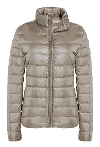 ZSHOW Women's Outwear Down Coat Lightweight Packable Powder Pillow Down Jackets, US Medium, Light Camel