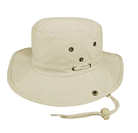 MG Men's Brushed Cotton Twill Aussie Side Snap Chin Cord Hat - Natural - Medium