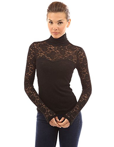 PattyBoutik Women's Turtleneck Sheer Lace Blouse (Black M)