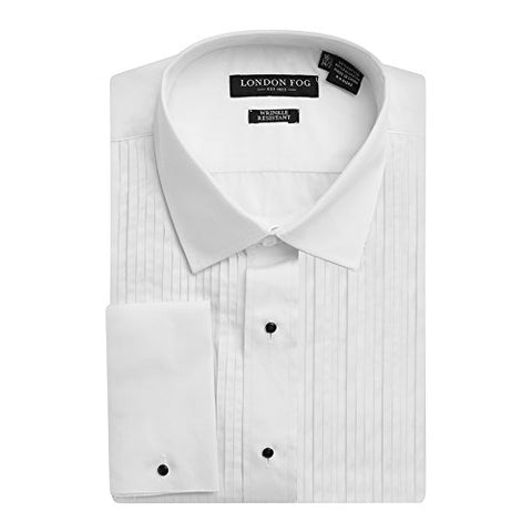 London Fog Men's Laydown Collar French Cuff Tuxedo Shirt White-17.5, 34-35