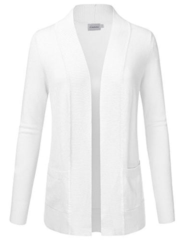 JJ Perfection Women's Open Front Knit Long Sleeve Pockets Sweater Cardigan WHITE L