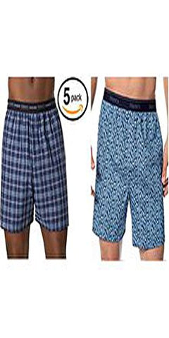 Hanes Men's 5-Pack Boxer with Exposed Waistband (XX-Large, Plaids / Prints Exposed Waistband)