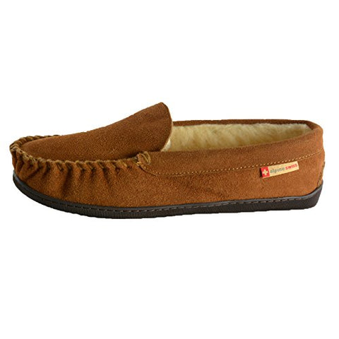 alpine swiss Yukon Mens Suede Shearling Slip On Moccasin Slippers Chestnut 10 M US