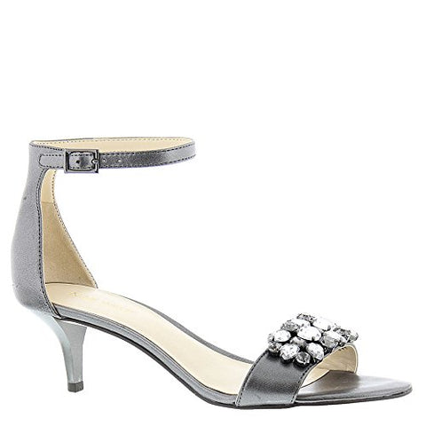 Nine West Women's Lecia Heeled Sandal, Dark Pewter, 7.5 Medium US