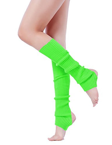 Leg Warmer, V28 Women Ladies Girl Fashion Warm Winter Ribbed Cable Knit Crochet (uphole-green)