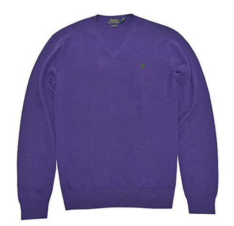 Ralph Lauren Men's Polo V-Neck Pima Cotton Pony Logo Sweater (S, Squire Purple)