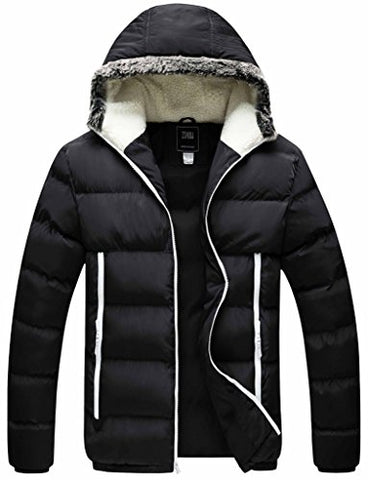ZSHOW Men's Winter Outwear Hooded Cotton Jacket(Black,Small)