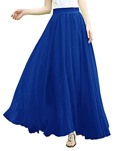 V28Women Full/ankle Length Elastic Pleated Retro Maxi Chiffon Long Skirt (M, Blue)