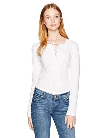 Lucky Brand Women's Lace up Bib Thermal Top, Lucky White, X-Small