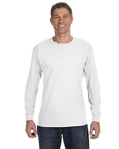 Hanes TAGLESS 6.1 Long Sleeve T-Shirt (White, Medium)