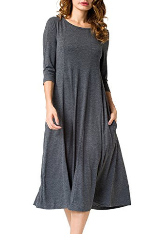 Jouica Women's 3/4 Sleeve A-line Splice Casual Midi Long Dress (Dark gray XL)