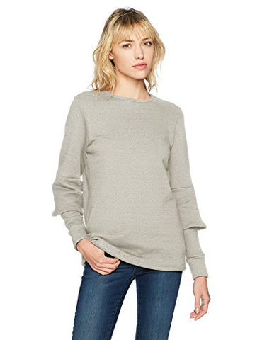 Lucca Couture Women's Lilian Bell Sleeve Elbow Detail Sweater, Heather Grey, Large