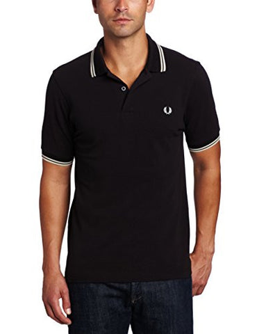 Fred Perry Men's Twin Tipped Polo Shirt-M3600, Black/Porcelain/Porcelain, Medium