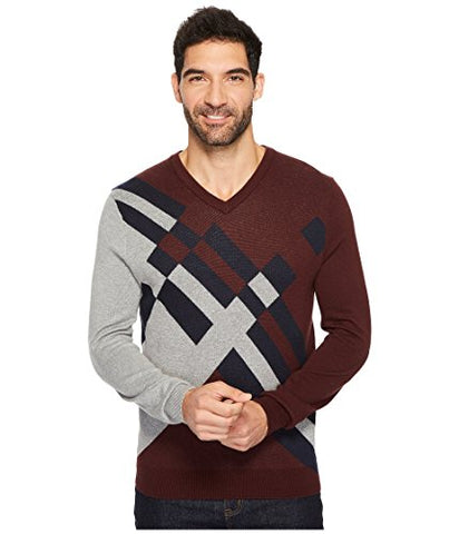 Perry Ellis Men's Argyle V-Neck Sweater, Royal Black Cherry, Extra Extra Large