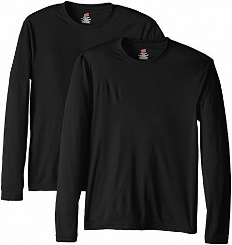 Hanes Men's Long Sleeve Cool Dri T-Shirt UPF 50+, Medium, 2 Pack ,Black