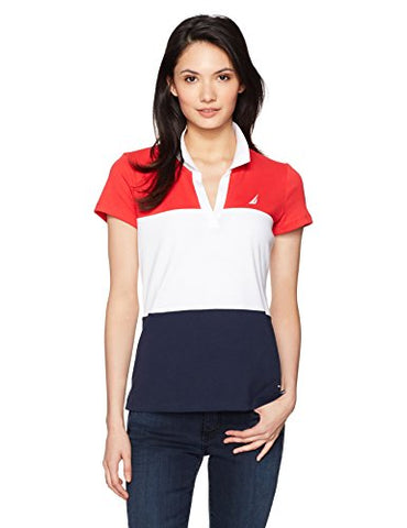 Nautica Women's Classic Heritage Short Sleeve Polo Shirt, Electric Red, L